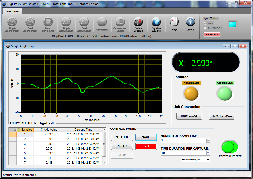 PC Sync Software | 2-Axis Pecision Machinist Level | Digipas